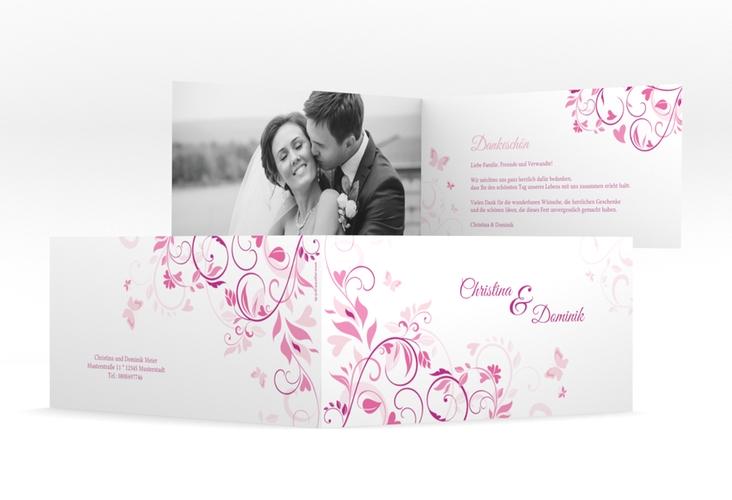 "Danksagung Hochzeit ""Lilly"" DIN lang Klappkarte pink"