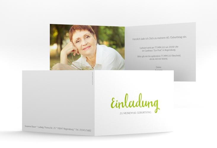 "Einladungskarte ""Handwriting"" A6 Klappkarte Quer gruen"