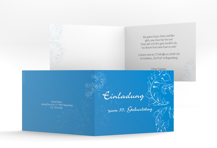 """Einladungskarte """"Peter/Petra"""" A6 Klappkarte Quer blau"""