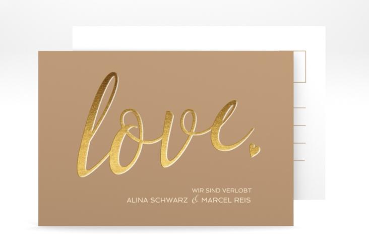 "Verlobungskarte Hochzeit ""Glam"" A6 Postkarte"