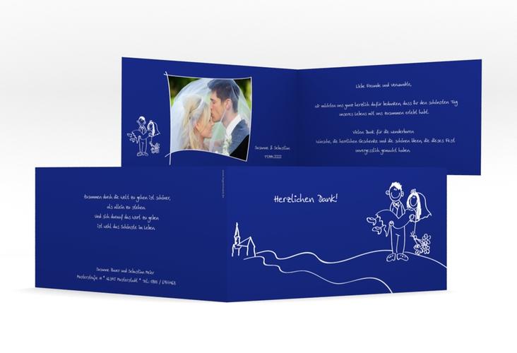 "Danksagungskarte Hochzeit ""Pisa"" DIN lang Klappkarte blau"