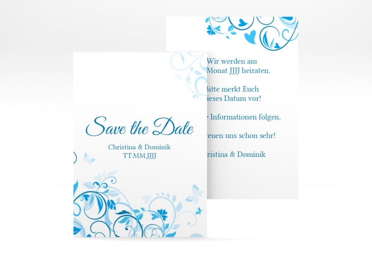 "Save the Date-Visitenkarte ""Lilly"" Visitenkarte blau"