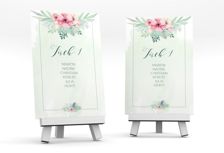 """Tischaufsteller Hochzeit """"Surfinia"""" Tischaufsteller gruen"""