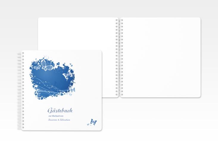"""Gästebuch Hochzeit """"Mailand"""" Ringbindung blau"""