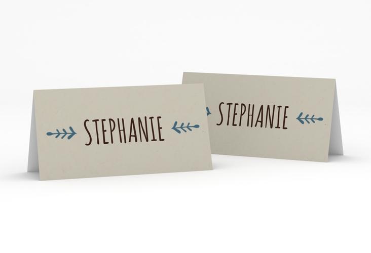 """Tischkarte Hochzeit """"Eden"""" Tischkarten blau"""