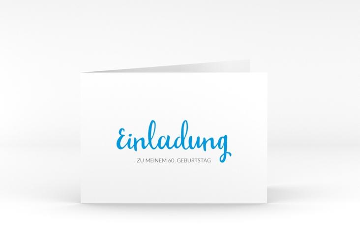 "Einladungskarte ""Handwriting"" A6 Klappkarte Quer blau"