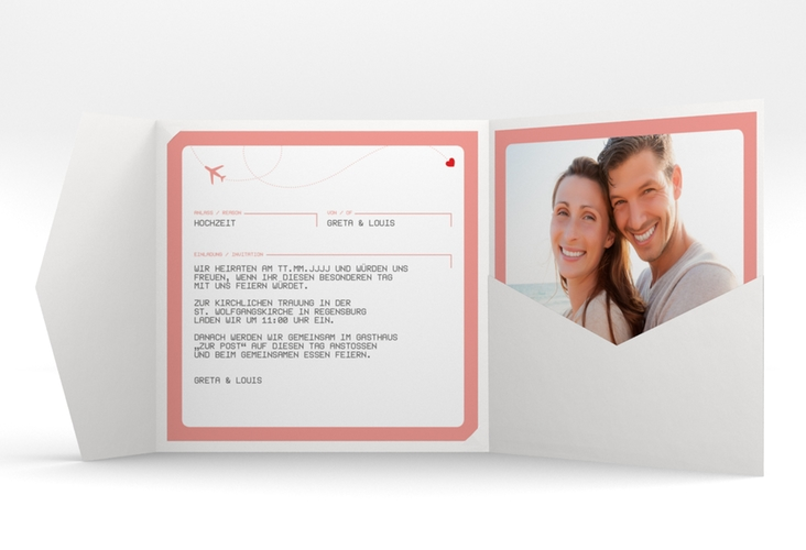 """Hochzeitseinladung """"Weddingpass"""" Pocketfold rosa"""