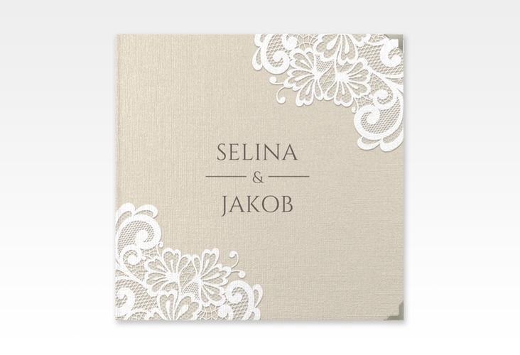 """Gästebuch Selection Hochzeit """"Vintage"""" Leinen-Hardcover beige"""