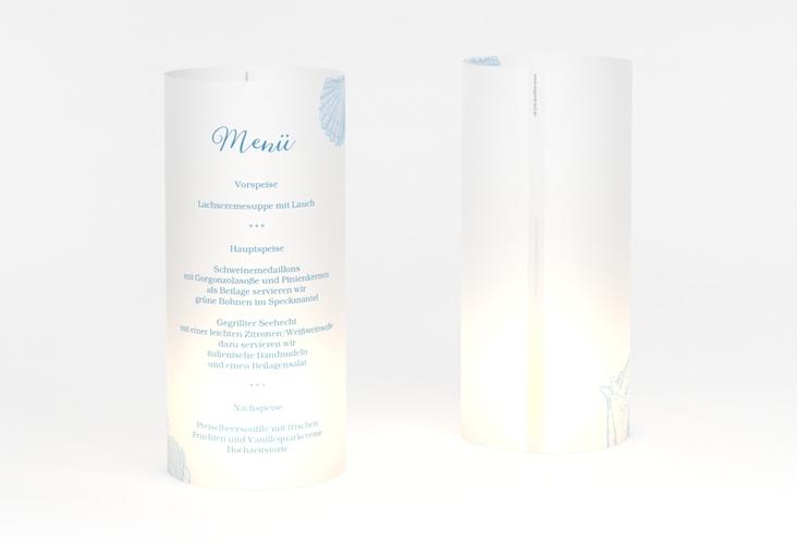 """Windlicht Menü Hochzeit """"Muschelreich"""" Windlicht blau"""