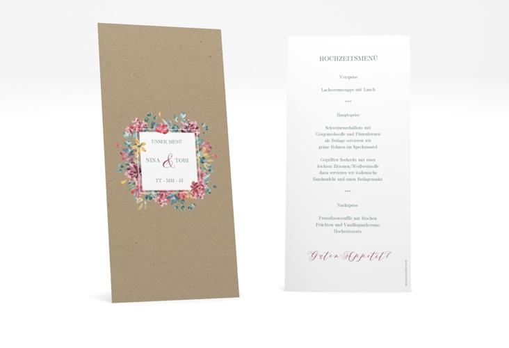 """Menükarte Hochzeit """"Blumenliebe"""" DIN lang hoch braun"""