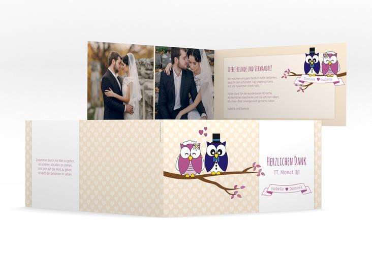 "Danksagungskarte Hochzeit ""Eulenliebe"" DIN lang Klappkarte"