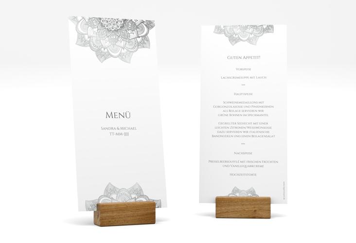 "Menükarte Hochzeit ""Delight"" DIN lang hoch grau"