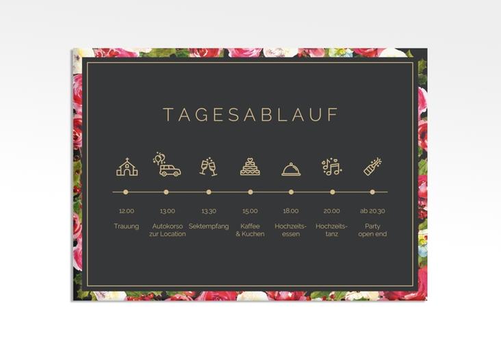 """Tagesablauf Leinwand Hochzeit """"Blumenpracht"""" 70 x 50 cm Leinwand schwarz"""