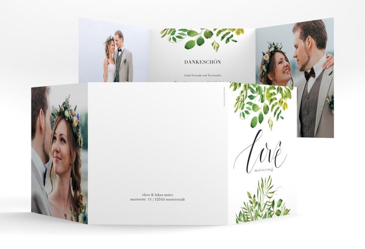 """Dankeskarte Hochzeit """"Botany"""" Quadr. Karte doppelt weiss"""