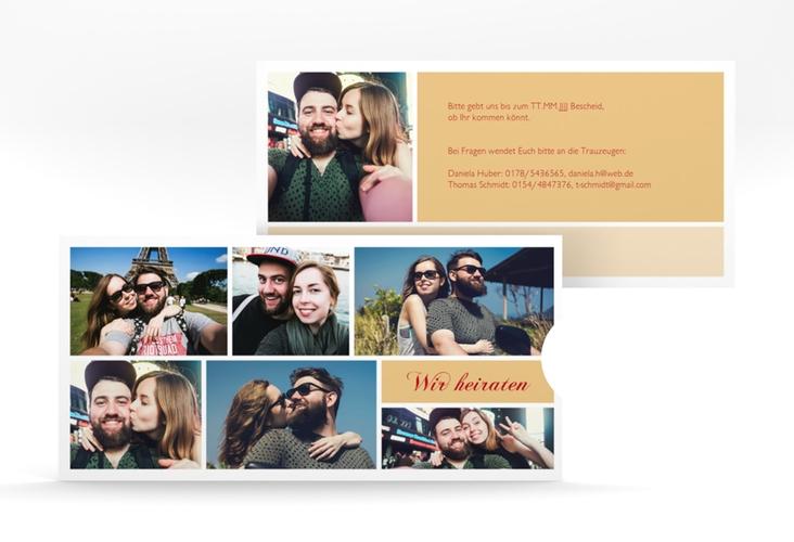 """Hochzeitseinladung """"Collage"""" Einsteckkarte apricot"""