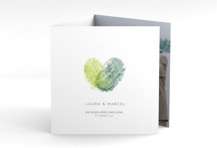 """Dankeskarte Hochzeit """"Fingerprint"""" Quadr. Karte doppelt gruen"""