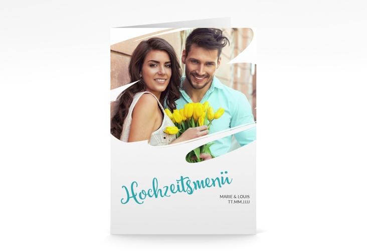 """Menükarte Hochzeit """"Felice"""" DIN A5 geklappt tuerkis"""