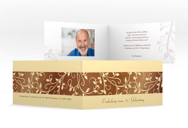 "Einladungskarte ""Hermann/Hermine"" DIN lang Klappkarte braun"