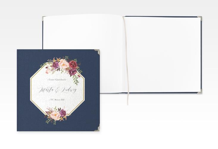 """Gästebuch Selection Hochzeit """"Prachtvoll"""" Leinen-Hardcover blau"""