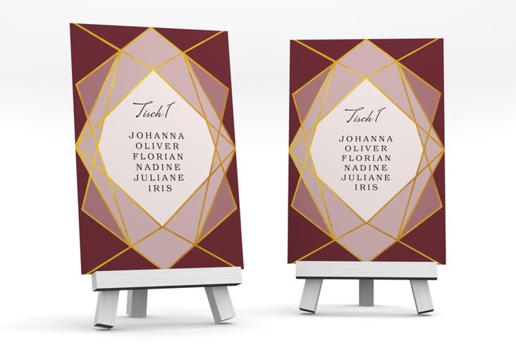 """Tischaufsteller Hochzeit """"Geometric"""" Tischaufsteller rot"""