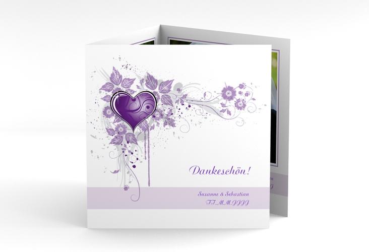 "Dankeskarte Hochzeit ""Triest"" Quadr. Karte doppelt lila"