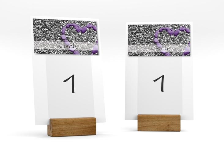 """Tischnummer Hochzeit """"Bilbao"""" Tischaufsteller lila"""