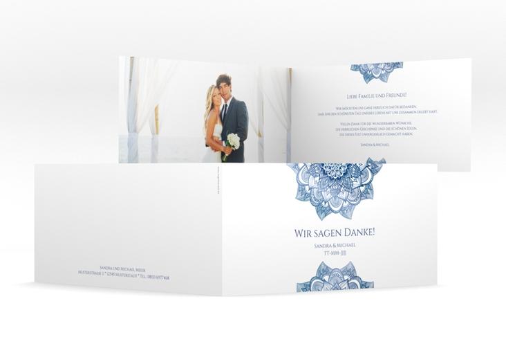 """Danksagungskarte Hochzeit """"Delight"""" DIN lang Klappkarte blau"""