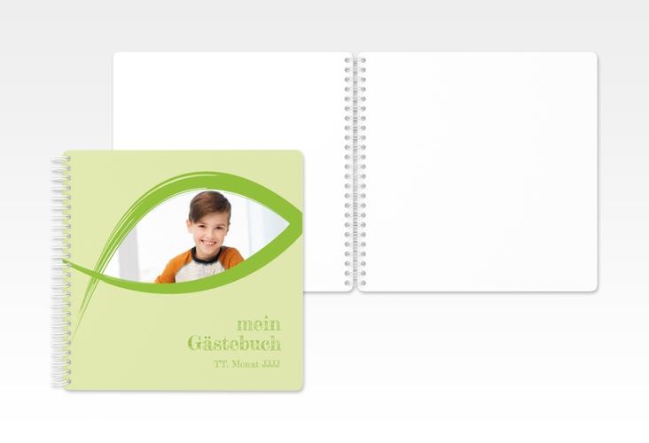 "Gästebuch Kommunion ""Credo"" Ringbindung gruen"