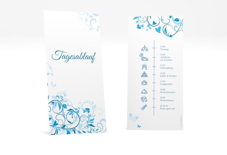 """Tagesablauf Hochzeit """"Lilly"""" DIN lang hoch blau"""