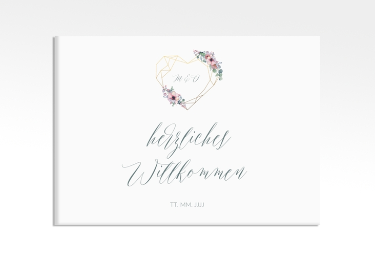 "Willkommensschild Leinwand ""Herzgold"" 70 x 50 cm Leinwand"