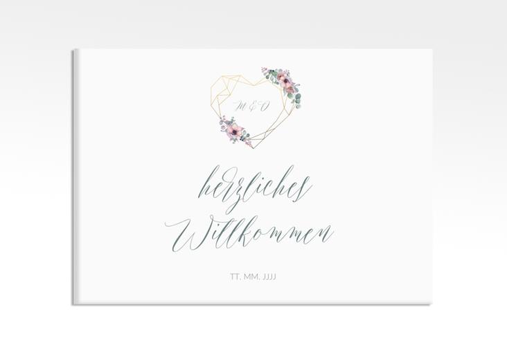 "Willkommensschild Leinwand ""Herzgold"" 70 x 50 cm Leinwand weiss"