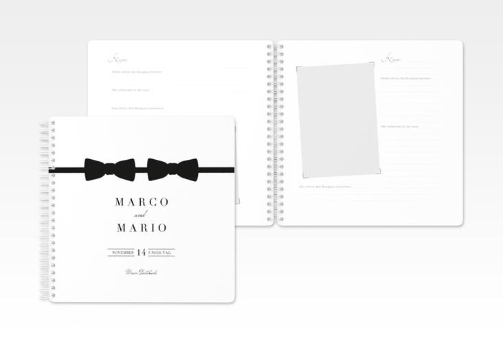 """Gästebuch Hochzeit """"Suits"""" Ringbindung schwarz"""