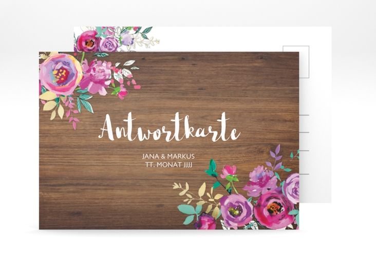 """Antwortkarte Hochzeit """"Flourish"""" A6 Postkarte"""