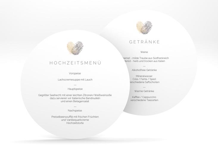 """Menükarte Hochzeit """"Fingerprint"""" rund beige"""