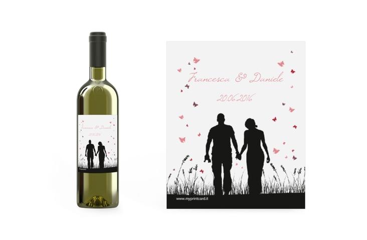 Etichette vino matrimonio collezione Rouen Etikett Weinflasche 4er Set