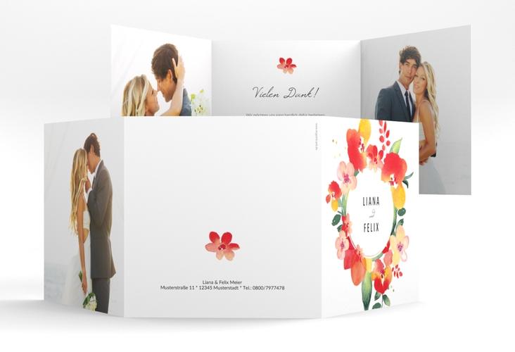 "Dankeskarte Hochzeit ""Exotic"" Quadr. Karte doppelt"