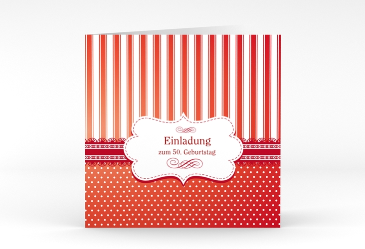"""Einladungskarte """"Heinrich/Henriette"""" Quadratische Klappkarte rot"""