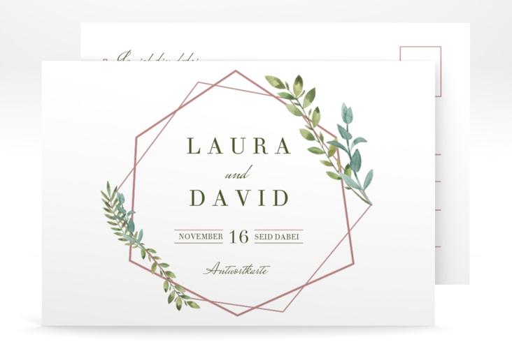 """Antwortkarte Hochzeit  """"Herbarium"""" A6 Postkarte rosa"""