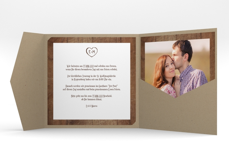 """Hochzeitseinladung """"Wood"""" Pocketfold"""