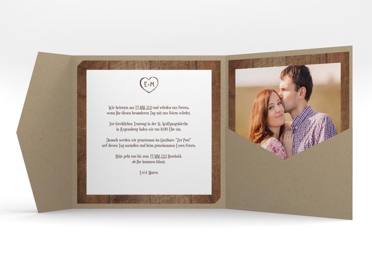 """Hochzeitseinladung """"Wood"""" Pocketfold braun"""