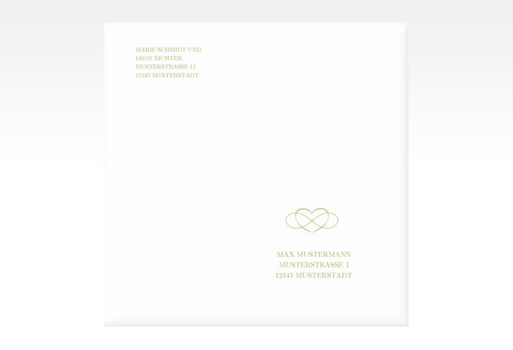 """Kuvert quadratisch """"Infinity"""" Quadratisch gruen"""