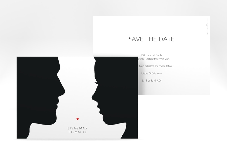 "Save the Date-Karte ""Silhouetten"" A6 quer"