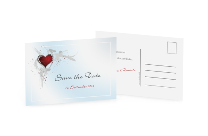 Biglietti Save the Date collezione Rieti A6 Postkarte blu