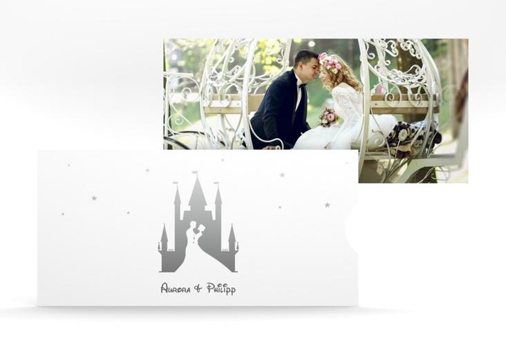 """Hochzeitseinladung """"Castle"""" Einsteckkarte grau"""