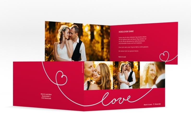 "Danksagungskarte Hochzeit ""Line"" DIN lang Klappkarte rot"