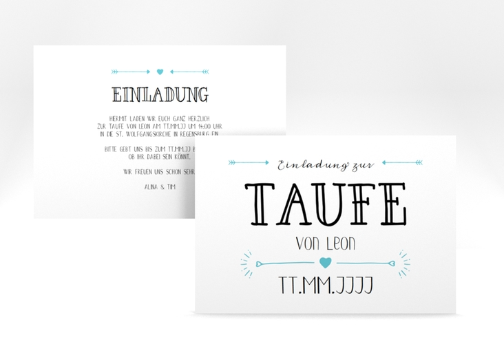 "Taufeinladung ""Lettering"" A6 quer tuerkis"