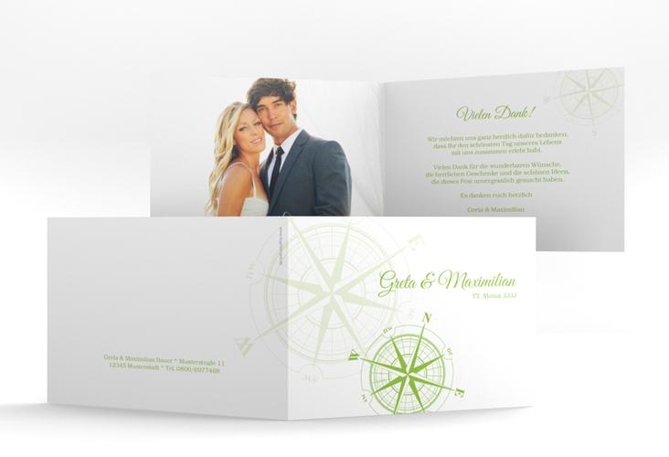 "Dankeskarte Hochzeit ""Windrose"" A6 Klappkarte Quer gruen"