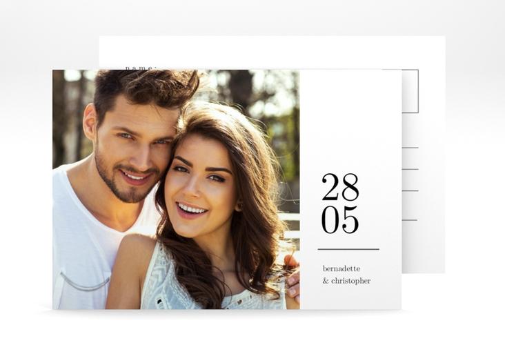 """Antwortkarte Hochzeit """"Minimal"""" A6 Postkarte weiss"""