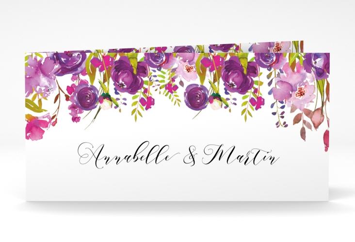 """Dankeskarte Hochzeit """"Violett"""" DIN lang Klappkarte weiss"""