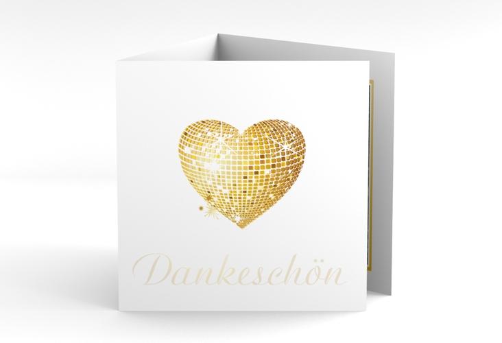 """Danksagungskarte Hochzeit """"Rimini"""" Quadr. Karte doppelt gold"""